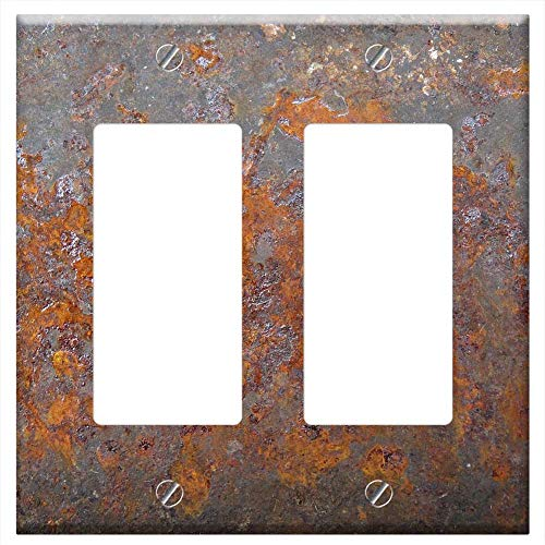 - Switch Plate Double Rocker/GFCI - Rust Metal Steel Old Grunge Texture Iron