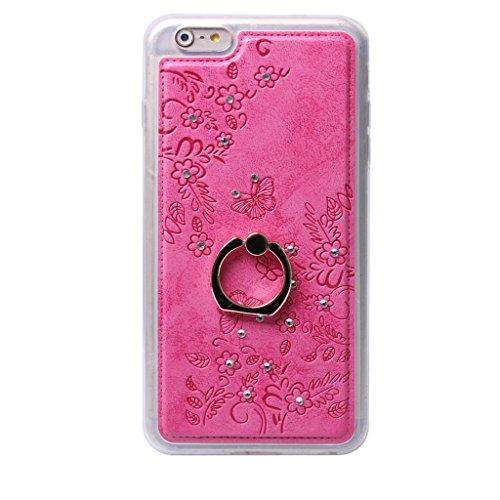 iPhone 6S Plus/iPhone 6 Plus Hülle, Apple iPhone 6S Plus / Apple iPhone 6 Plus Hülle Lifetrust®[ Rose ] Schutzhülle Flip PU Ledertasche Ständer Schutzhülle Tasche Hülle Case Cover mit Kreditkartenstec