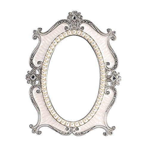 Nerien Vintage Style Pearl Oval Makeup Mirror Floral Tabletop Mirror with Back Stand White ()