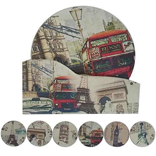 NewFerU Cork Absorbent Coasters with Holder Decorative Round Heat Resistant Pad Mats Spoon Rest Trivet Set Table Runner Kit Large for 6 Drinks Hot Pans,Pots,Stovetop,Countertops (4.3