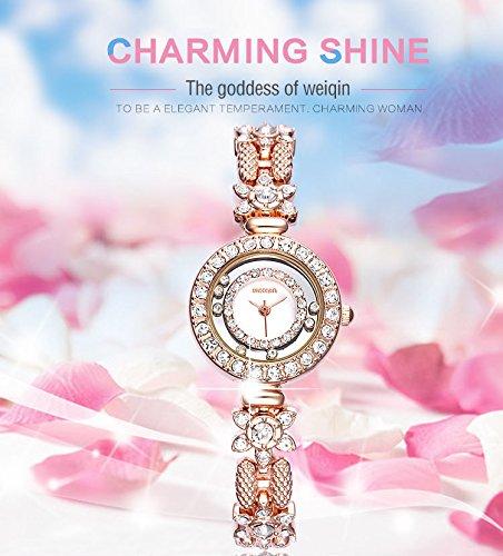AStarsport Women Luxury Elegant Flower Rhinestone Flower Bangle Bracelet Watches Fashion Lady Dress Watch Analog Wristwatch Silver Pink by AStarsport (Image #3)