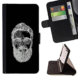 Momo Phone Case / Flip Funda de Cuero Case Cover - Hombre barbudo Negro bosquejo blanco - Motorola Moto E ( 1st Generation )