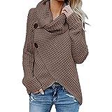 shusuen Women Long Sleeve Solid Irregular Pile of Collared Cardigans Sweatshirt Pullover Tops Blouse(XXXL,XXXXL,XXXXXL)