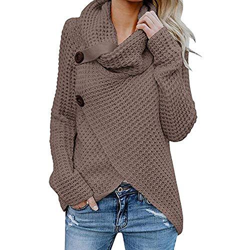 Sunmoot Clearance Irregular Hem Sweatshirt for Women, Women's Button Long Sleeve Cowl Neck Pullover Tops T Shirt - Skort Competition Womens