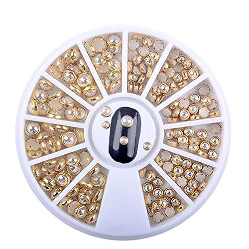 1 Box AB Beige Metal Edge Glitter Nail Beads Studs Beauty Charm Nail Art DIY Pearls Decorations Wheel Half Round Pearls Metal Rhinestone 3D Nail Art Flat Beads