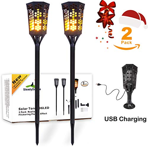 LED Tiki Torches Flickering Flame Solar Torch Landscaping Light Kit (2 Pack) Upgraded with USB Charging & L Mounts Dusk-to-Dawn Dancing Flames solar tiki torches outdoor Lighting Garden Patio Path