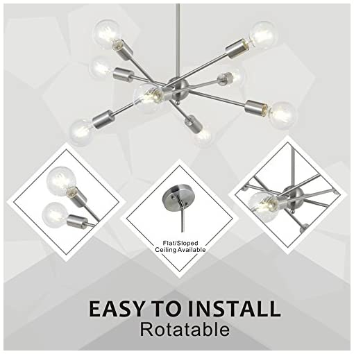 Interior Lighting 8 Lights Modern Sputnik Chandelier Lighting with Adjustable Arms Mid Century Pendant Light Vintage Industrial Ceiling… modern ceiling light fixtures