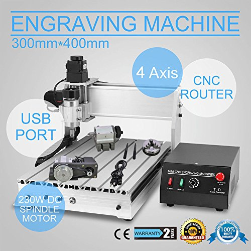 4 AXIS CNC Router Engraver 3D Engraving Drilling Milling Machine 300W 3040 T-SCREW DESKTOP CUTTING - Chrome Mdf Table