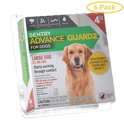 Sentry Advance Guard 2 for Dogs Dogs 21-55 lbs - 4 Month Supply - Pack of 6