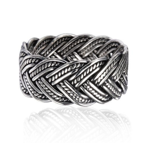 925 Oxidized Sterling Silver 10 mm Braided Woven Wave Antique Style Band Thumb Ring - Size 11 by Chuvora (Image #2)