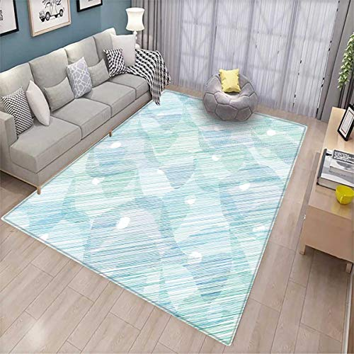 Beetle Pet Sofa - Modern Bath Mats Carpet Abstract Geometrical Futuristic Modern Image Stripes and Unknown Background Door Mats for Inside Non Slip Backing Blue and White