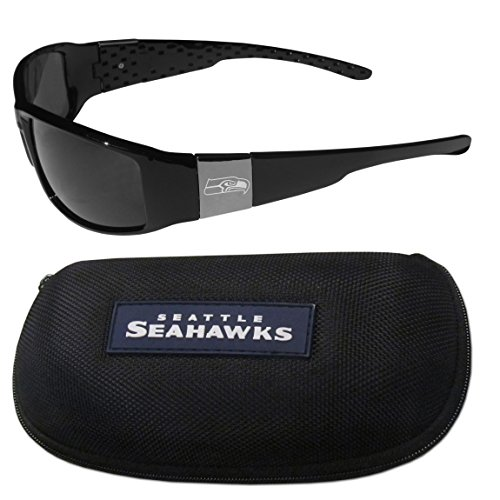 NFL Seattle Seahawks Chrome Wrap Sunglasses & Zippered Carrying - Sunglasses Seattle