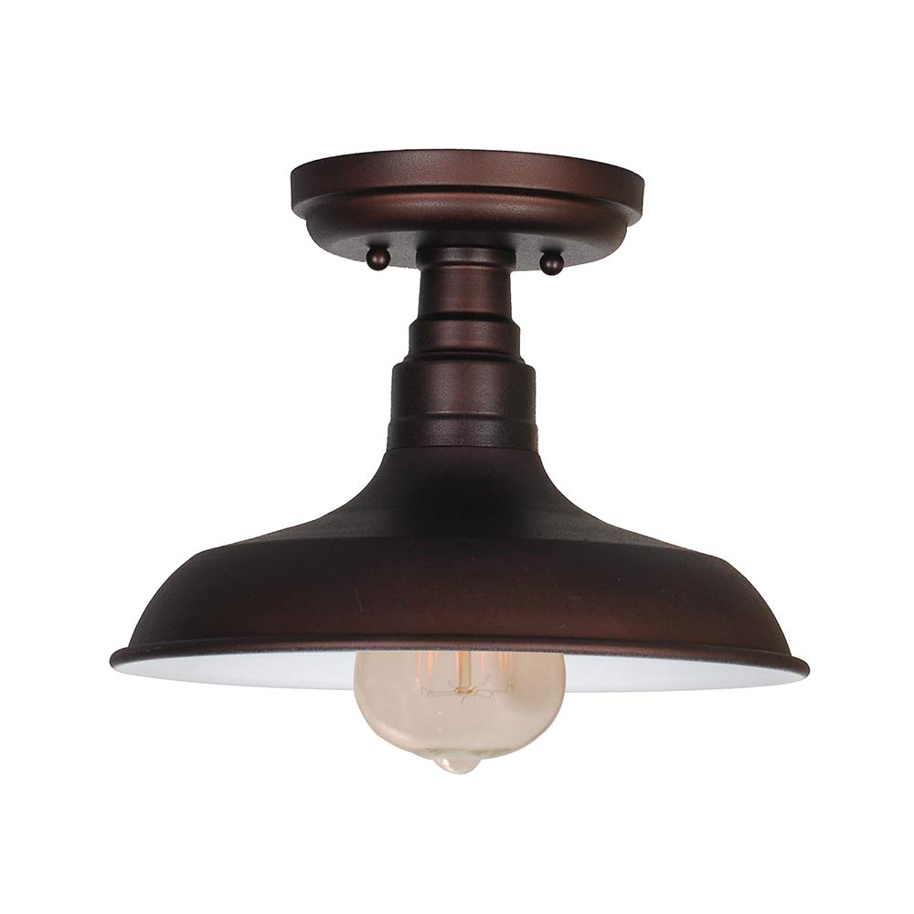 Design House 519884 Kimball 1 Light Semi Flush Mount Ceiling Light, Bronze