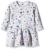 Petit Bateau Baby Girl Long Sleeve Floral Print Dress, Grey/Multi-Colored, 3M