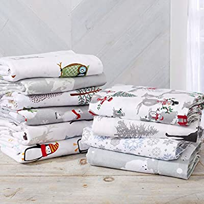 Home Fashion Designs Stratton Collection Extra Soft Printed 100% Turkish Cotton Flannel Sheet Set. Warm, Cozy, Lightweight, Luxury Winter Bed Sheets Brand.