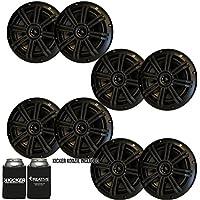 Kicker Black OEM Replacement Marine 6.5 4Ω Coaxial speaker Bundle - 8 Speakers