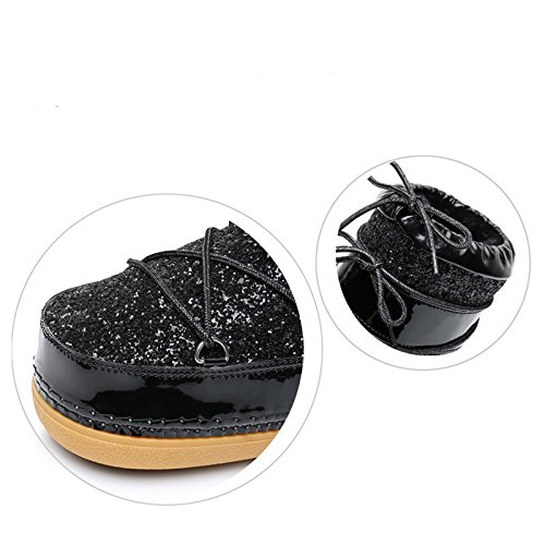 Soled Winter Female Bandage Black Boots Thick Boots Space Bandage xqA1Ofnw