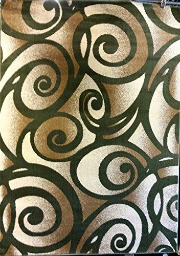 [Modern Area Rug Green Bellagiio Design 341 (5 Feet 2 Inch X 7 Feet 3 Inch)] (Tan Green Circles)
