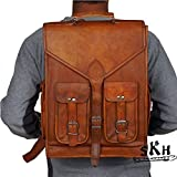 Vintage Leather Laptop Rucksack with Large Pockets, Leather Backpack Bag Genuine Leather Retro Rucksack College Bag,school Picnic Bag Travel Bag