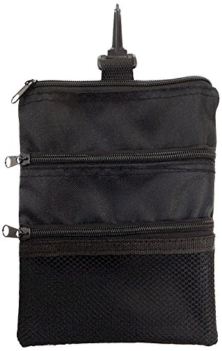 JP Lann Golf Multi-Pocket Tote Hand Bag and Valuables Pouch, Black, 7.75 x 6.25-Inch