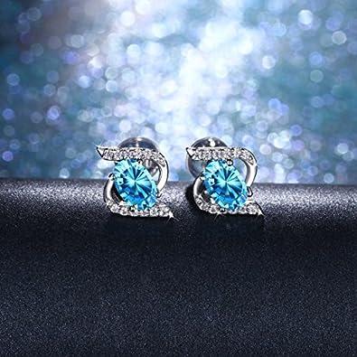 Ohrringe Damen,J.Ros/ée 925er Sterling Silber Blau Zirkonia SchmuckSternenlicht Ohrh/änger exquisite Geschenk-Box Geschenk Frauen M/ädchen Freundin