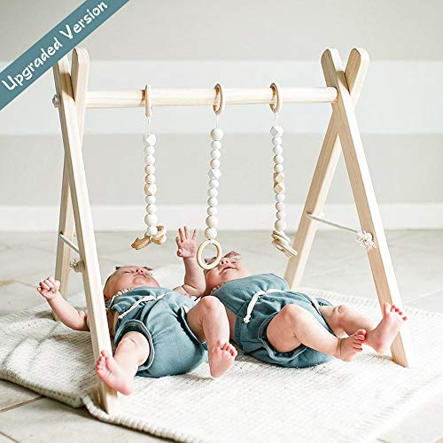 funny supply Wooden Baby Gym with 3 Gym Toys Foldable Baby Play Gym Frame Activity Center Hanging Bar Newborn Gift (Baby Pack And Play Neutral)
