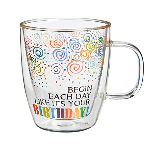 Cypress Home Birthday Glass Coffee Cup, 12 oz