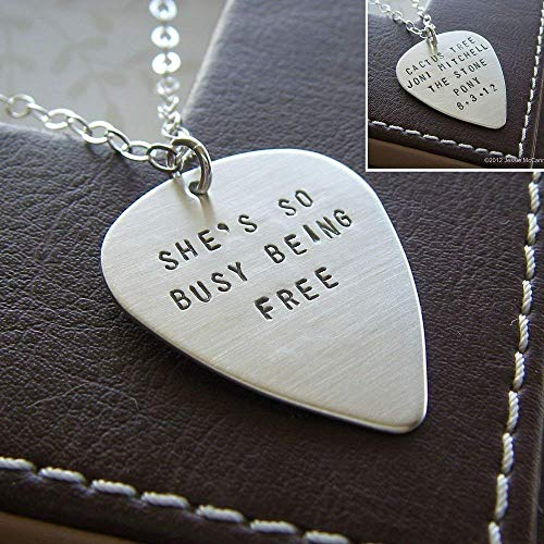 (Personalized Guitar Pick Necklace with Song Lyrics, Message or Names - Hand Stamped Sterling Silver, Two-Sided)