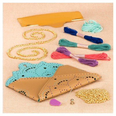 Clutch Leather Embroidered - Craftabelle Embroidered Leather Clutch Kit