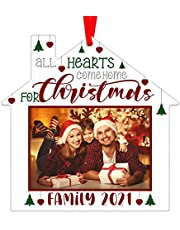 PETCEE Picture Frame Christmas Ornaments 2021,Family Picture Frame Ornament for Christmas Tree Decorations ,Personalized Christmas Photo Frame Ornament Christmas Keepsake Gifts for Family Mom Sister Women