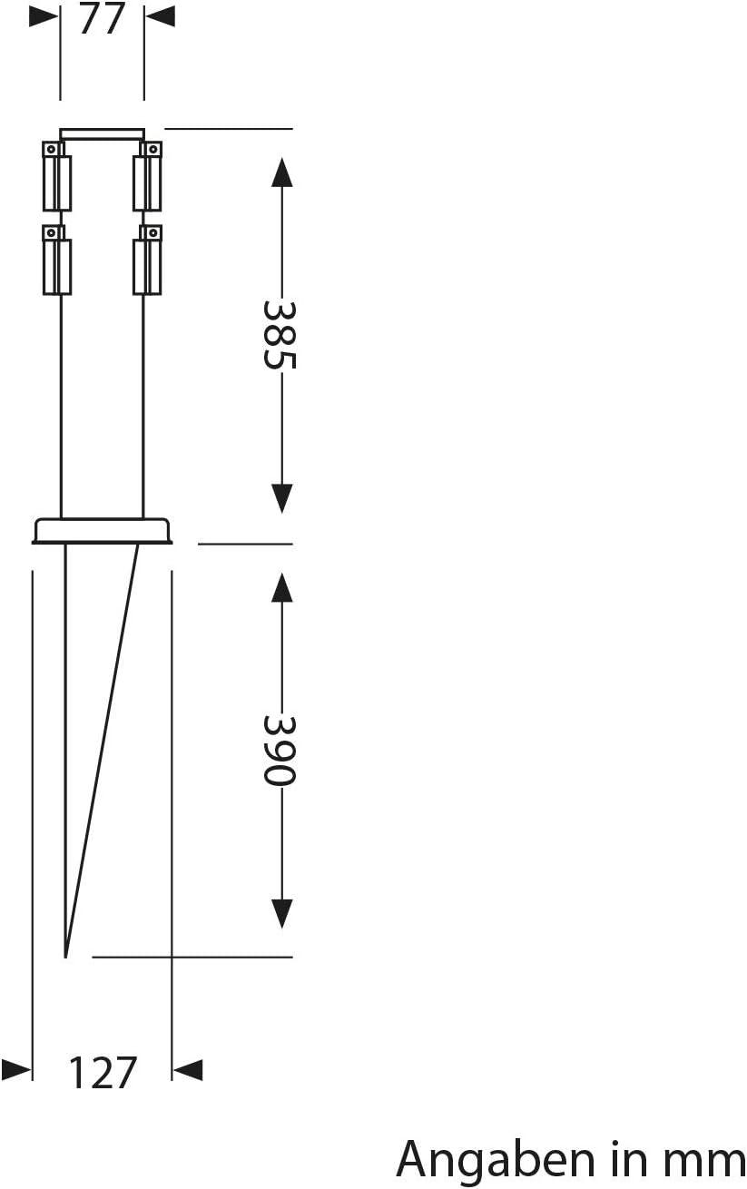 ledscom.de Garten-Steckdosen-S/äule PORU con picchetto interrabile e 2m Cavo da Esterno Tondo a 4 Vie Acciaio Inox 38cm