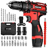 """Cordless Drill Driver Kit with 2 Batteries, WAKYME 12.6V Power Drill 30Nm 18+3 Clutch, 3/8"""" Keyless Chuck, Variable Speed & Built-in LED Electric Screw Driver for Drilling Wall, Bricks, Wood, Metal"""