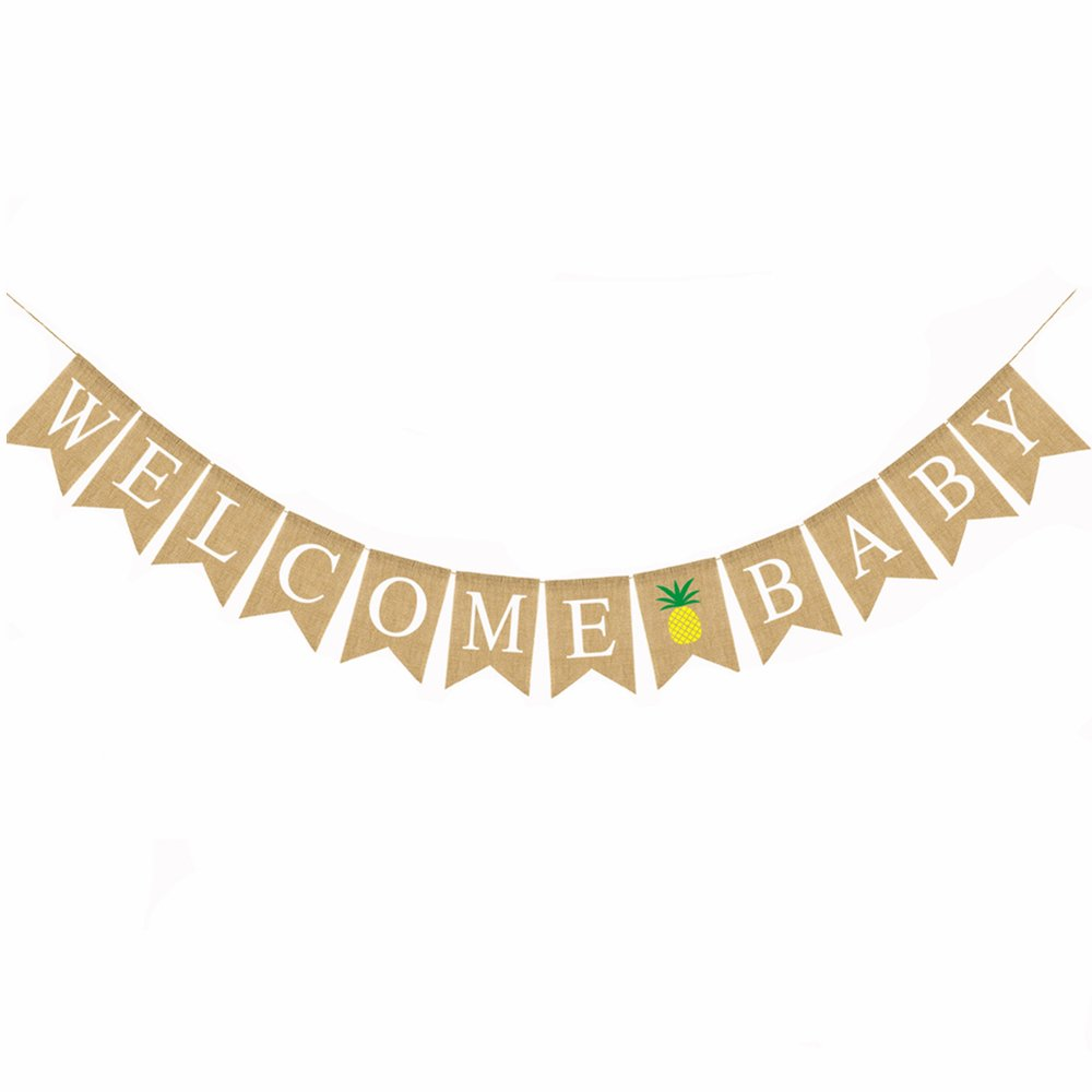 Jute Burlap Welcome Baby Banner Baby Shower Gender Reveal Party Decoration Supplies Amazon In Health Personal Care