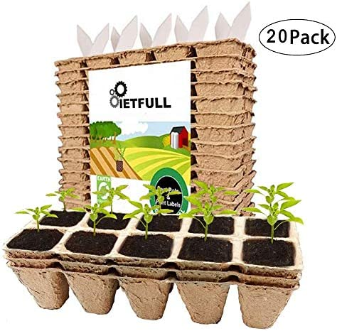 Seed Starter Tray Kit20x10(200) Cells Peat Pots for Seedlings Organic Biodegradable Plant Starter Trays20 Plastic Plant Labels