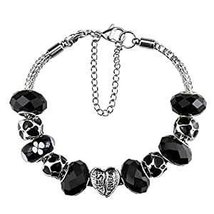 Silver Plated Crystal Charm Bracelet with Charms for Pandora Christmas and 10 Year Anniversary gift Ideas for Women Jewelry DIY Beads 7.5 inch