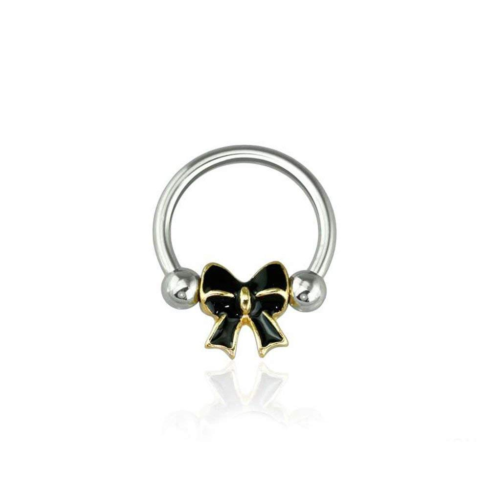Covet Jewelry Epoxy Gold Trim Bow 316L Surgical Steel Captive Bead Ring