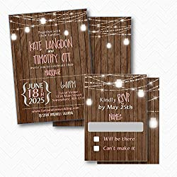 Mason Jar Rustic Wood & Lights Wedding Invitation set with RSVP | Envelopes Included