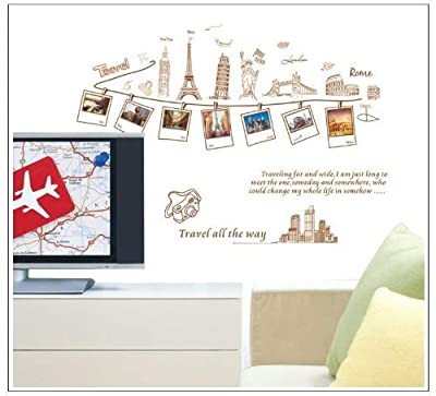 Good Life Travel ALL the Way Word Picture Frame of World Traveling Wall Sticker for Sitting Room Decor