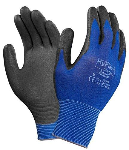 ANSELL HYFLEX 11-402 Guanti Lavoro Da Uomo PU rivestimento di protezione delle mani Hi Vis Giallo