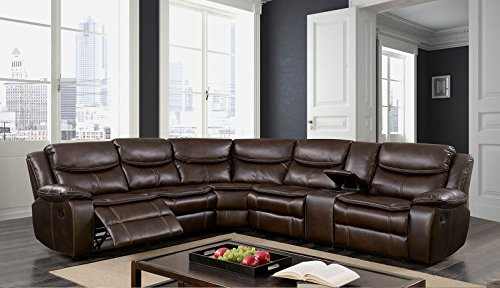Esofastore Brown Reclining Home Theater Sectional Plush Cushion Couch Breathable Leatherette Wedge Loveseat Console Modern Living Room Furniture
