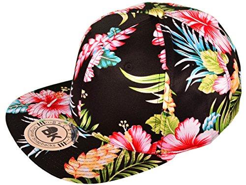 c7e580e740b BK Caps Cotton Flat Bill Floral Snapback Hats (Black Flower) - Buy Online  in Oman.