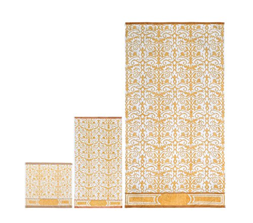 6 Piece Towel Set Flower Pattern Jacquard, 2 Face Towel 2 Hand Towel and 2 Bath towel, Gold