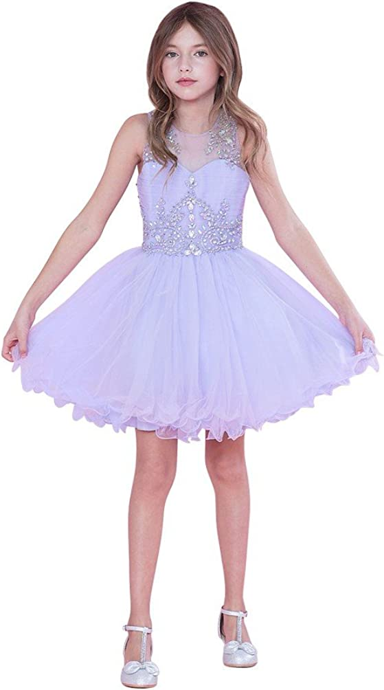 Big Girls Lilac Bejeweled Top Tulle Wired Trim Junior Bridesmaid Dress 7
