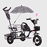 Twins Kids Trike Baby Toddler Safety Double Rotatable Seat w/Basket (Color : Gray)