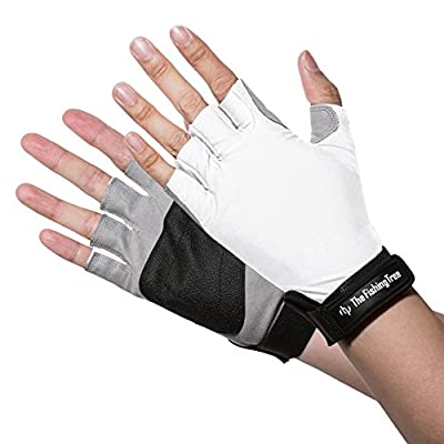 SUN PROTECTION FINGERLESS GLOVES Verified UPF 50+ UV, Block Burn Damage, Avoid Skin Cancer And Aging When FISHING, DRIVING, KAYAKING, SAILING, CYCLING, Men and Women Accessories by The Fishing Tree