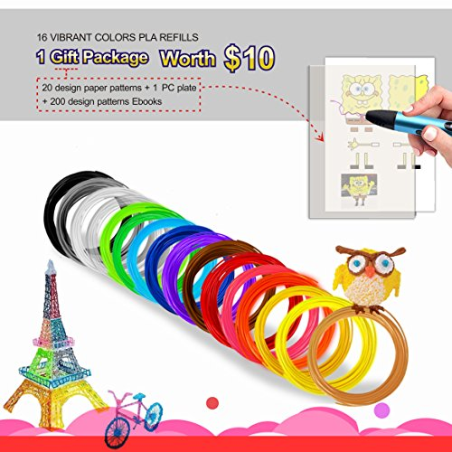3D Pen Filament PLA 1.75 mm -16 Colors with gift pack worth $10 (20 Stencils+1 PC Plate + 200 Ebook Stencils ) each 32.8 Feet - total 525 FT