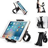 "AboveTEK All-In-One Cycling Bike iPad/iPhone Mount, Portable Compact Tablet Holder for Indoor Gym Handlebar on Exercise Bikes & Treadmills, Adjustable 360° Swivel Stand For 3.5-12"" Tablets/Cell Phones"