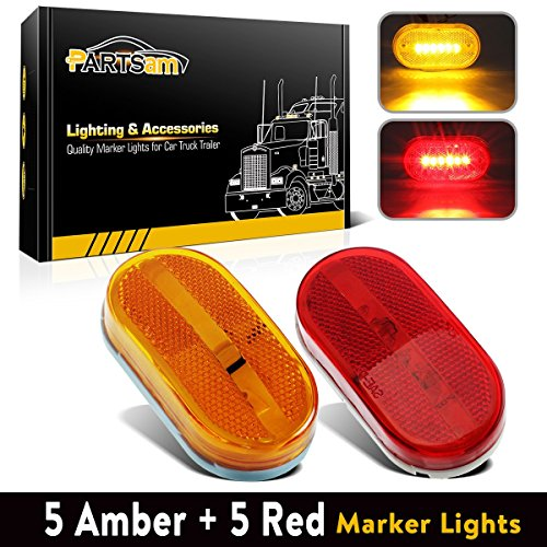 Partsam 5 Amber + 5 Red surface Mount Side Marker 6 Leds Clearance Lamp w/Removable Lens, 4