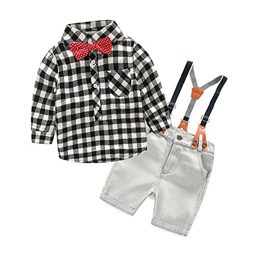 Top and Top Boys 2Pcs Long Sleeve Plaid Casual Shirt Short Jeans Set with Suspender Straps (90/2t, Black) -