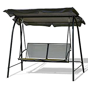 New Modern Gray Outdoor 3 Seats Patio Canopy Swing Glider Hammock Backyard Porch Furniture great addition to your backyard